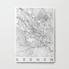 Bremen Map Line Metal Print