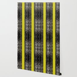 Gothic tree striped pattern mustard yellow Wallpaper
