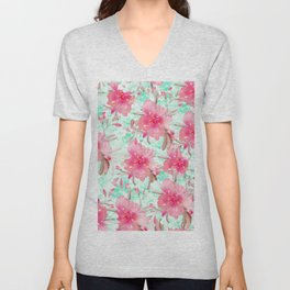 Hot pink turquoise hand painted watercolor floral Unisex V-Neck