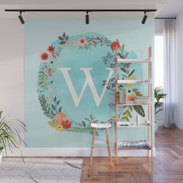 Personalized Monogram Initial Letter W Blue Watercolor Flower Wreath Artwork Wall Mural