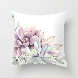 Desert Succulents on White Throw Pillow