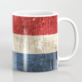 Vintage Aged and Scratched Dutch Flag Coffee Mug