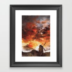 Windmill and the Sunset Sky Framed Art Print