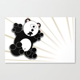 One Eyed Panda - White Canvas Print
