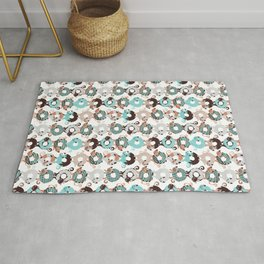 Cats Donut Care // white background mint and brown sweet kitties Rug