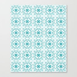 Flower and leaves tile pattern Canvas Print
