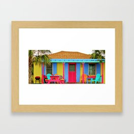 Whimsical Beach House Framed Art Print