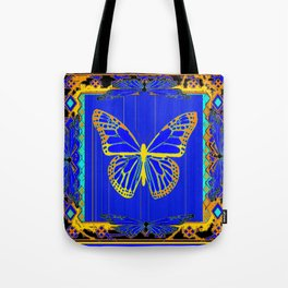 Lapis Blue & Gold Monarch Western Art design Tote Bag