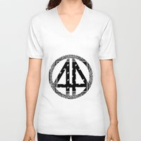 bands V-neck T-shirts featuring Floral bands by ART ON CLOTH
