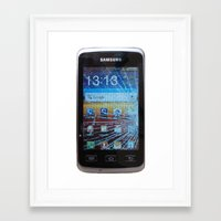 samsung Framed Art Prints featuring iPhone crashes Samsung by CrazyWorld