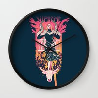 supreme Wall Clocks featuring Supreme by Hillary White