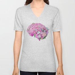 Floral Brain Pale Pink Unisex V-Neck