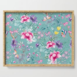 Vintage & Shabby Chic - Chinoserie Pastel Spring Blue Flowers And Birds Garden Serving Tray