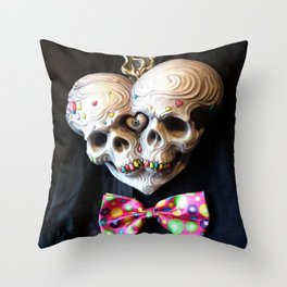 Siamese Skull Love Throw Pillow
