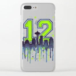 Seattle Skyline Space Needle 12th Art Clear iPhone Case