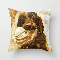 bucky Throw Pillows featuring Bucky  by Maritza Hernandez