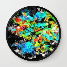 psychedelic splash painting abstract texture in blue orange yellow green black Wall Clock