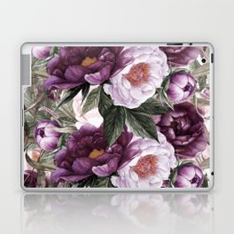 Purple Plum Pink Watercolor Peonies and Greenery Laptop & iPad Skin