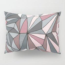 Urban Geometric Pattern on Concrete - Dark grey and pink Pillow Sham