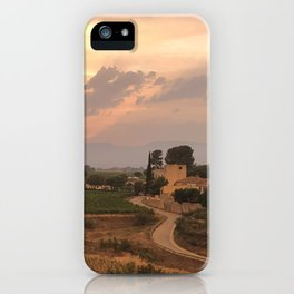 Barcelona, Spain - Pink Sunset at a Vineyard iPhone Case