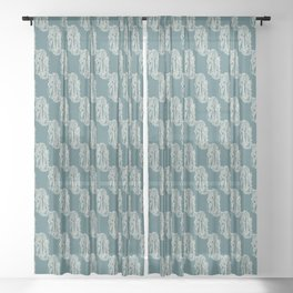 Zentangle A teal Sheer Curtain