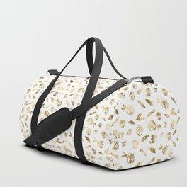 Gold Roses Rosette Pattern on White Duffle Bag