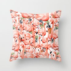 Exotic landscape of flamingos and pineapple Throw Pillow