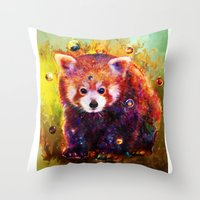 red panda Throw Pillows featuring red panda by ururuty