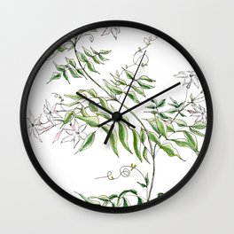 Jasmine Flower Illustration Wall Clock