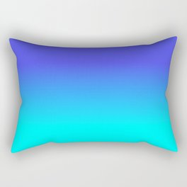 Neon Blue and Bright Neon Aqua Ombré Shade Color Fade Rectangular Pillow