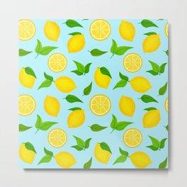 Summer Lemons Pattern - Yellow and Pastel Blue Palette Metal Print