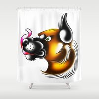 german Shower Curtains featuring German Shepherd by samlbrown
