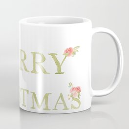 Merry Christmas Watercolor Letters and Florals Coffee Mug