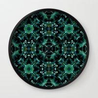 malachite Wall Clocks featuring Malachite fantasy by ESZAdesign™