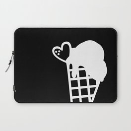 Simple Black and White Snow Cone Icecream Laptop Sleeve