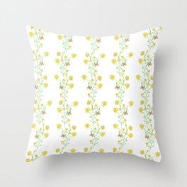 Yellow Butterfly Bouquet Vine Throw Pillow