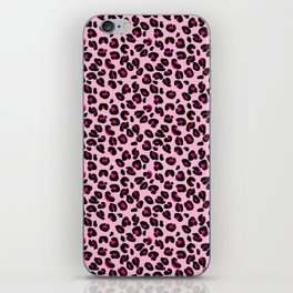 Cotton Candy Pink and Black Leopard Spots Animal Print Pattern iPhone Skin