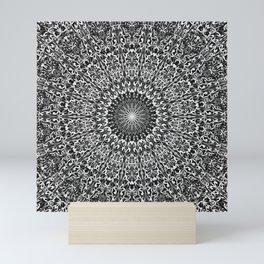 Grey Spiritual Mandala Garden Mini Art Print