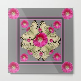 CHARCOAL GREY PINK FLOWERS YELLOW BUTTERFLIES Metal Print