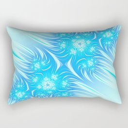 Abstract Christmas aqua blue white pattern. Frozen flowers Rectangular Pillow