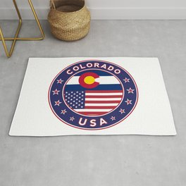 Colorado, Colorado t-shirt, Colorado sticker, circle, Colorado flag, white bg Rug