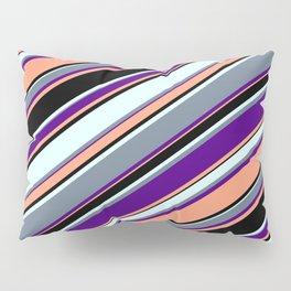 Eyecatching Indigo, Light Salmon, Black, Light Cyan & Slate Gray Colored Stripes Pattern Pillow Sham