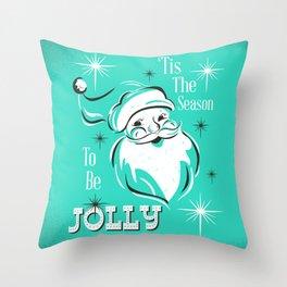 'Tis The Season - Retro Santa Aqua Throw Pillow