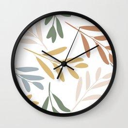 Nature Art, Gold, Blush, Terracotta, Green, Leaves Print Wall Clock