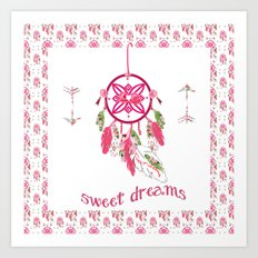 Shabby Chic Dream Catcher in mat Art Print