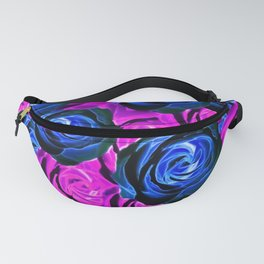 blooming rose texture pattern abstract background in pink and blue Fanny Pack