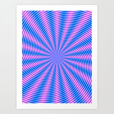 Pink and Blue Spiral Rays Art Print