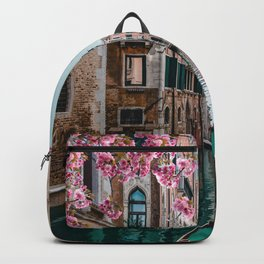 Spring Venice emerald canal with old building  Backpack