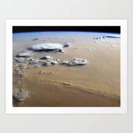 Dust and Clouds Over Sahara Desert from Earth's Orbit Satellite Photograph Art Print