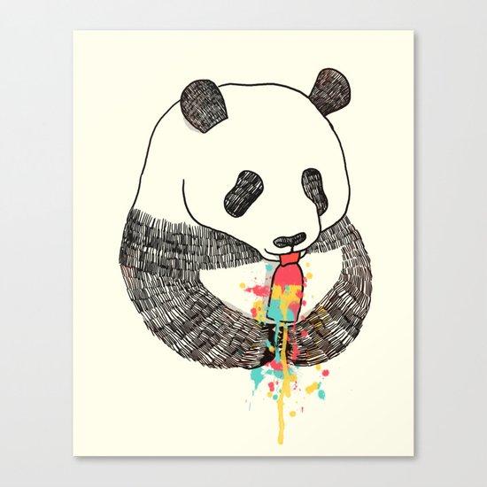 Panda Loves Ice Cream Canvas Print